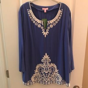 "Lilly Pulitzer ""Charlotte"" Tunic XL in iris blue"